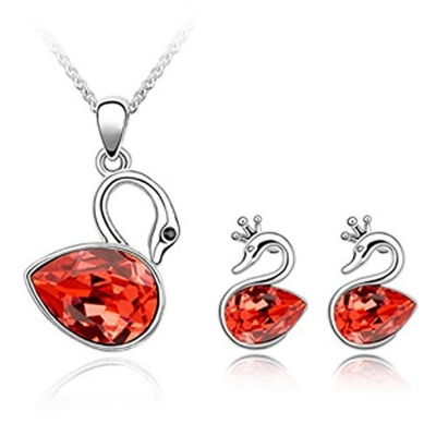 Habors 18K White Gold Plated Pink Austrian Crystal Crowned Swan Pendant Set for Women