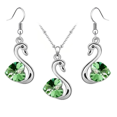 Habors 18K White Gold Plated Ocean Green Romantic Swan Austrian Crystal Pendant Set