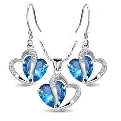 Habors 18K White Gold Plated Austrian Crystal Blue Pendant Set for Women (JFCOMD022Blue)