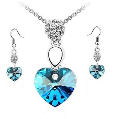Habors 18K White Gold Plated Austrian Crystal Blue Heart Pendant Set (JFCOMD023Blue)