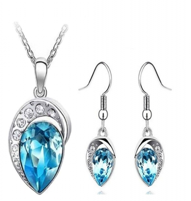 Habors 18K White Gold Plated Blue Heart Throb Austrian Crystal Set for Women (JFED0387SET)