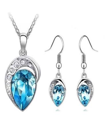 Habors 18K White Gold Plated Blue Heart Throb Austrian Crystal Set for Women (JFED0387SET)