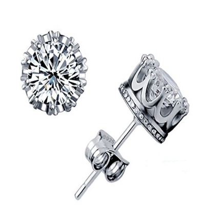 Silverswan 925 Sterling Silver Plated Imperial Crown Earrings for Women