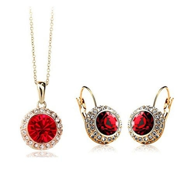 Habors 18K Gold Plated Ocean Red Princess Celebrity Necklace and Earring Set (JFND0421R)