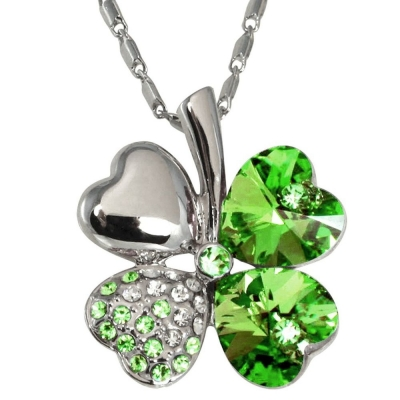 Habors 18K White Gold Plated Green Austrian Crystal Clover Leaf Pendant for Women