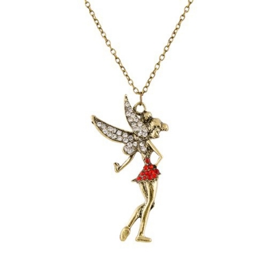 Habors Red & Gold Tinkerbell Long Chain Necklace for Women
