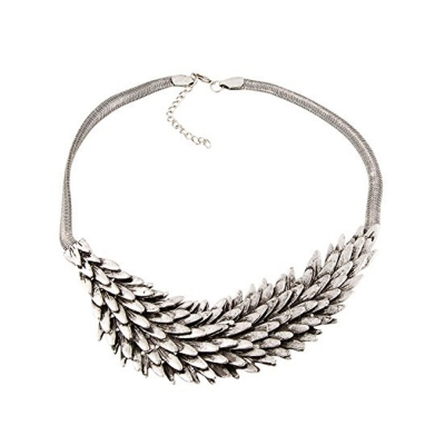 Habors Silver Tree Scales Choker Necklace