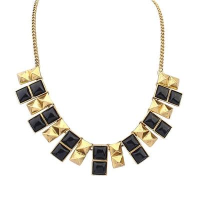 Habors Gold and Black Geometric Statement Choker Necklace for Women