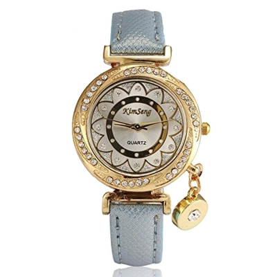 Habors Crystal Flower Pendant Watch With Blue Band (JFBD356BLU)