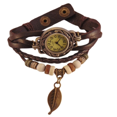 Habors Brown Multiband Watch Bracelet With Leaf Charm for Women