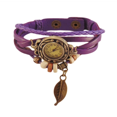 Habors Multiband Watch Purple Bracelet With Leaf charm for Girls