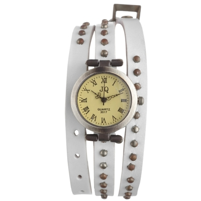 Habors Multiband Watch White Bracelet With Rivet Charms