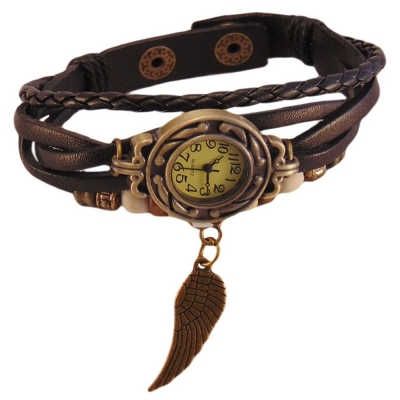 Habors Multiband Watch Black Bracelet With Angel Wing charm for Girlss