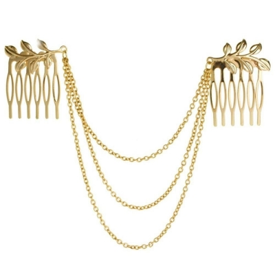 Habors gold plated Hair Chain For Women ( Gold )