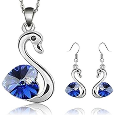 Habors 18K White Gold Plated Deep Blue Romantic Swan Austrian Crystal Pendant Set