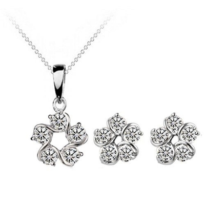Habors 18K White Gold Plated Austrian Crystal Flower Pendant Set (JFCOMD024)