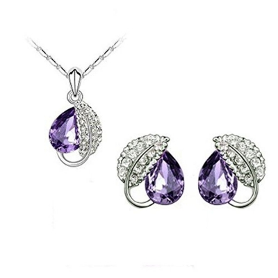 Habors 18K White Gold Plated Purple Austrian Crystal Leaf Pendant Set (JFCOMD026PR)