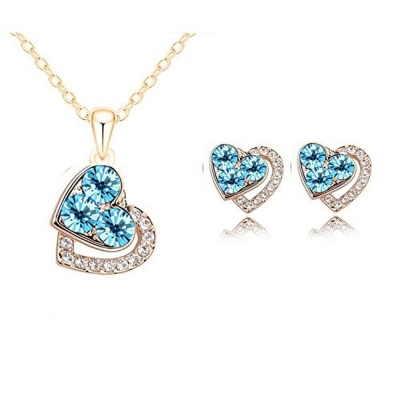 Habors 18K Gold Plated Austrian Blue Heart Crystal Pendant Set (JFCOMD029)