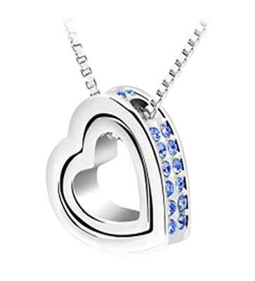 Habors 18K White Gold Plated Austrian Crystal Heart in Heart Pendant for Women