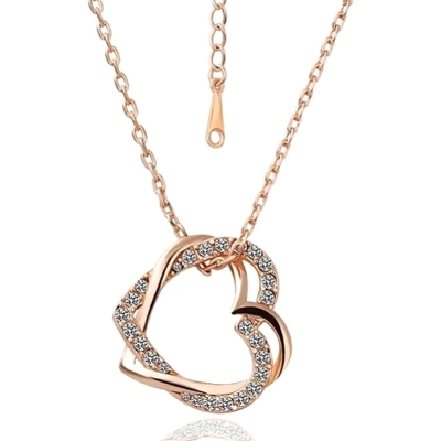 Habors 18K Gold Plated Austrian Crystal Double heart Pendant (JFND0425)