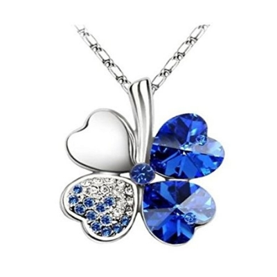 Habors 18K White Gold Plated Blue Austrian Crystal Clover Leaf Pendant for Women