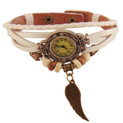Habors Multiband Watch White Bracelet With Angel Wing Charm