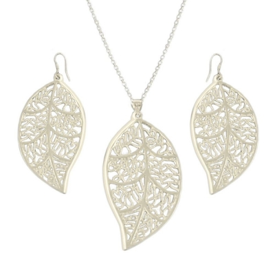 Habors Silverswan 925 Sterling Silver Plated Trendy Leaf Jewellery Set For Women