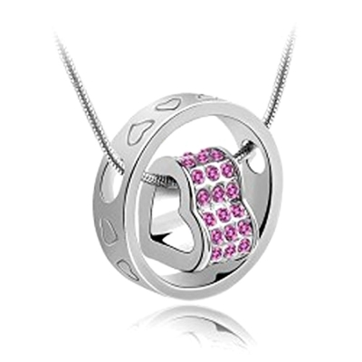 Habors 18K White Gold Plated Pink Austrian Crystal Fortune Hearts Pendant for Women