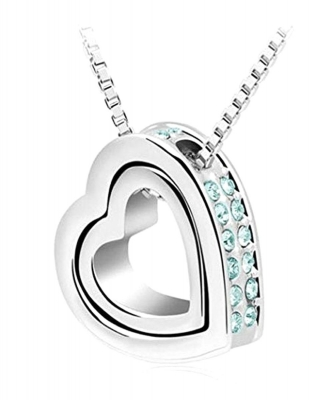 Habors 18K White Gold Plated Austrian Crystal Aqua Blue Heart in Heart Pendant for Women