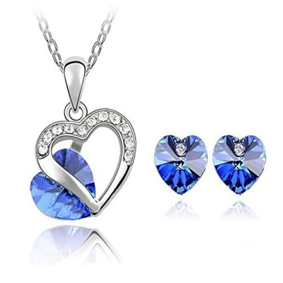 Habors 18K White Gold Plated Austrian Crystal Heart in Love Pendant Set