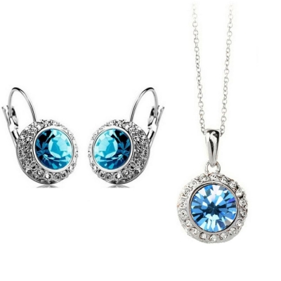 Habors 18K White Gold Plated Ocean Blue Princess Celebrity Necklace and Earring Set