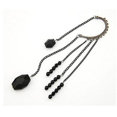 Habors BLack Ear Cuff with Tassels for Women