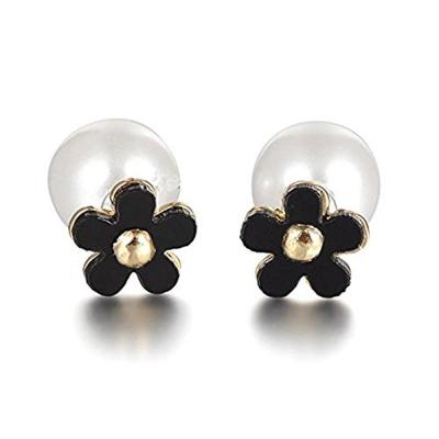 Habors Black & White Flower Double Pearl Earrings For Girls