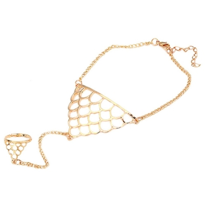 Habor Gold Gypsy Bracelet Connected ring for Women