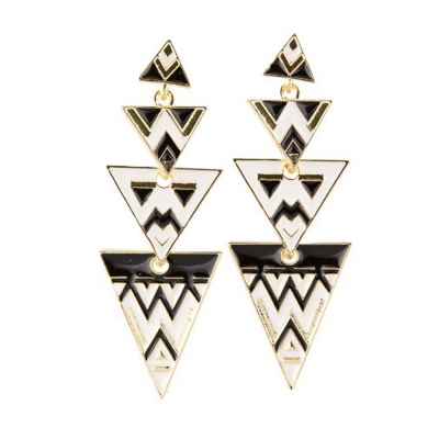 Habors White Aztec Print Earrings For Women