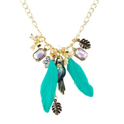 Habors Multi Charms Feather Pendant Rolo Chain Necklace
