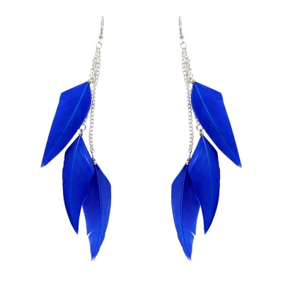 Habors Gorgeous Blue Feather Earrings for women