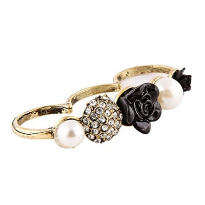 Habors Black Rose Three Finger Ring for Women