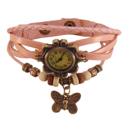 Habors Multiband Watch Light Pink Bracelet With Butterfly charm for Girls