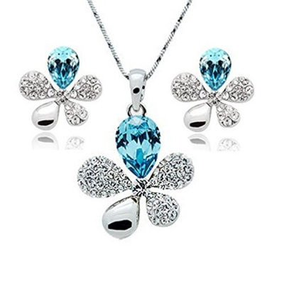 Habors 18K White Gold Plated Blue Austrian Crystal Adelia Pendant Set