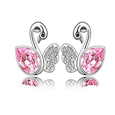 Habors 18K White Gold Plated Ocean Pink Angel Wing Swan Austrian Crystal Earrings