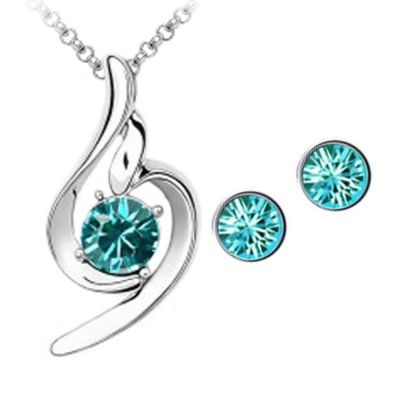 Habors 18K White Gold Plated Blue Austrian Crystal Lucky Angel Pendant set for Women