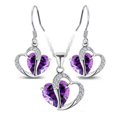Habors 18K White Gold Plated Austrian Crystal Purple Pendant Set (JFCOMD022Purple)