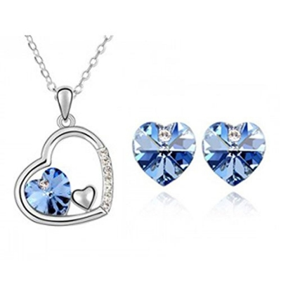 Habors 18K White Gold Plated Heart Shape Austrian Crystal Pendant Set (JFCOMD030)