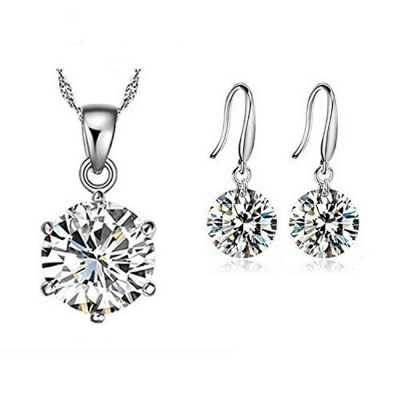 Habors 925 Sterling Silver Plated Austrian Crystal Shining Star Pendant Set (JFCOMD0435)