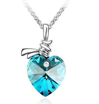 Habors White Gold Plated Ocean Blue Austrian Crystal Beautiful Heart Pendant for Women