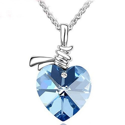 Habors 18K Gold Plated Blue Austrian Crystal Beautiful Heart Pendant for Girls