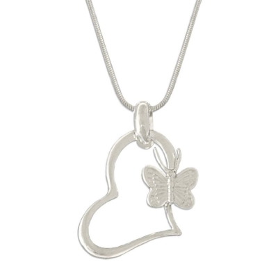 Silverswan 925 Sterling Silver Plated Heart of Butterfly Pendant Necklace For Women