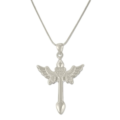 Silverswan 925 Sterling Silver Plated Angel Wing Cross Pendant Necklace (Unisex)