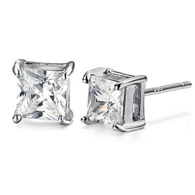Silverswan 925 Sterling Silver Plated Princess Cut Earrings For Women